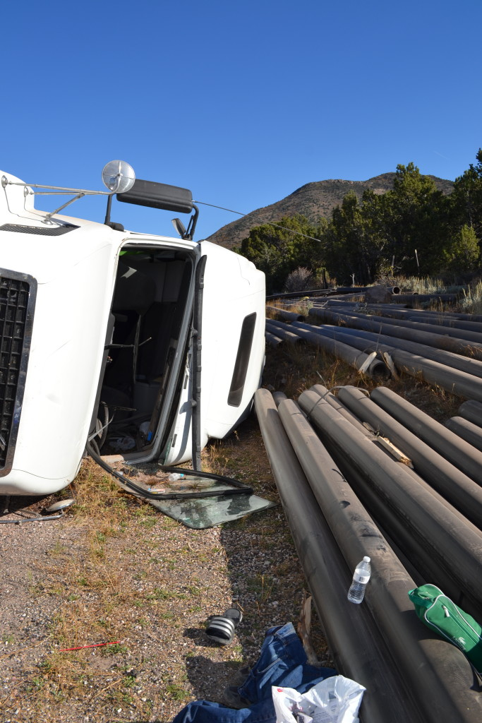 A truck carrying metal pipes rolled over on SR-56, Cedar City, Utah, Oct. 14, 2015 | Photo by Emily Hammer, St. George News