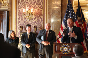 (left to right) Margaret Bird, former school children's trust director; Kevin Carter, former director SITLA; Rep. Mel Brown; and Dave Ure at podium, Salt Lake City, Utah, Oct. 22, 2015 | Photo courtesy of the offices of Gary. Herbert, St. George News