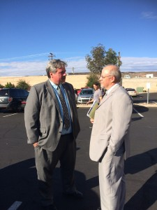 Varlo Davenport and his attorney Aaron Prisbrey outside Justice court, St. George, Utah, Oct. 21, 2015|Photo by Cody Blowers