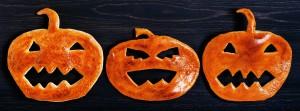 Halloween pumpkin of dough on the wooden table