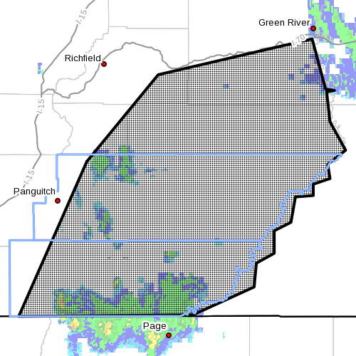 Dots indicate area subject to flood warning, Southern Utah, Oct. 5, 1:40 p.m. | Image courtesy of the National Weather Service, St. George News | Click image to enlarge