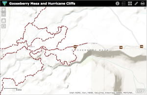 Gooseberry Mesa map from the BLM's new interactive online tool for mountain biking | Image courtesy BLM