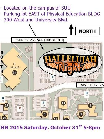 The Hallelujah Night Festival's new location is at 300 W. Center St., in the parking lot just east of the SUU P.E. building | Photo courtesy of the Calvary Chapel, St. George News