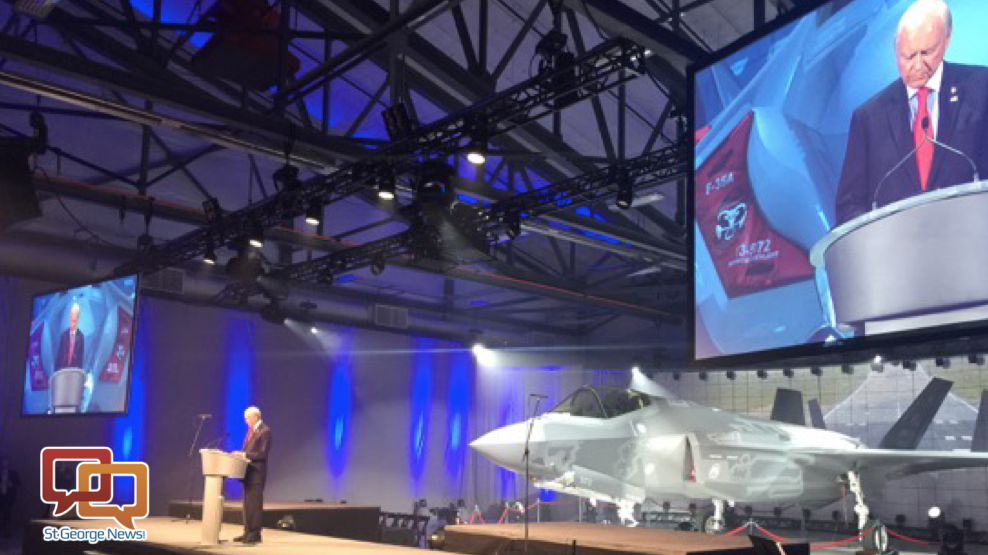 Sen. Orrin Hatch speaks at official rollout ceremony for the Air Force's first operational F-35 squadron, which will be housed at Hill Air Force Base jus south of Ogden, Utah, Oct. 14, 2015 | Photo courtesy of the Offices of Sen. Orrin Hatch, St. George News