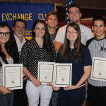 Back Row. L-R,  James McFadden, Exchange Club President; Greyson Chamberlain Dixie High School; Chanse Riding Desert Hills High School.  Front Row, L-R, Isabella Cooper, Millcreek High School; May Musser, Snow Canyon High School; Ruby Bowers Tuacahn High School; Marco Perez, Pine View High School.