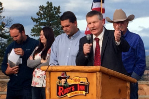 Garfield County Commissioners Leland Pollock, Dell LeFevre and David B. Tebbs take a moment to speak at the 2015 Utah Tourism Conference, Bryce Canyon National Park, Bryce, Utah, Oct. 7, 2015 | Photo by Carin Miller, St. George News