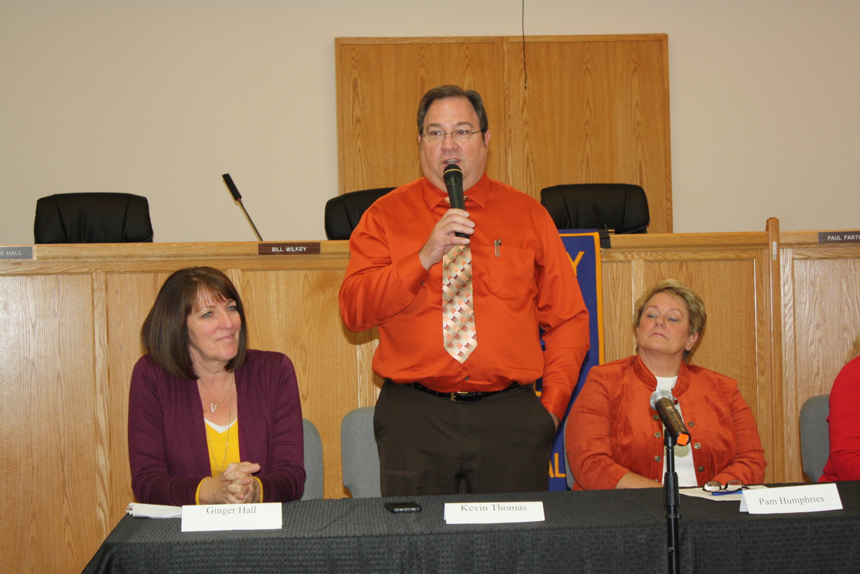L-R: Ginger Hall, Kevin Thomas, Pam Humphries. Candidate forum put on by the Hurricane Valley Rotary Club; not shown is candidate Cheryl Reeve. Hurricane, Utah, Oct. 29, 2015 | Photo by Reuben Wadsworth, St. George News