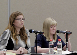 Debate moderators Miranda Jones and Bailey Bowthorpe welcome Cedar City Council candidates, Southern Utah University Ballroom, Cedar City, Utah, Oct. 22, 2015 | Photo by Carin Miller, St. George News