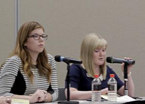 Debate moderators Miranda Jones and Bailey Bowthorpe welcome Cedar City Council candidates, Southern Utah University Ballroom, Cedar City, Utah, Oct. 22, 2015 | Photo by Carin Miller, St. George News