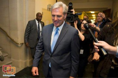 House Majority Leader Kevin McCarthy, of California, walks out of a nomination vote meeting on Capitol Hill after dropping out of the race to replace House Speaker John Boehner, Washington, D.C., Oct. 8, 2015   AP photo by Evan Vucci, St. George News
