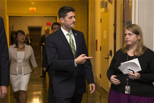 Rep. Paul Ryan, R- Wis., arrives for a meeting on Capitol Hill in Washington, Thursday, Oct. 8, 2015, where Republicans were to nominate candidates to replace outgoing House Speaker John Boehner. In a stunning move, Majority Leader Kevin McCarthy withdrew his candidacy for House speaker Thursday, throwing Congress' Republican leadership into chaos. (AP Photo/Evan Vucci)