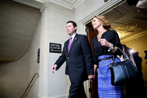 Rep. Jason Chaffetz, R-Utah and his wife Julie walk on Capitol Hill in Washington, Thursday, Oct. 8, 2015, prior to a vote to replace outgoing House Speaker John Boehner. House Majority Leader Kevin McCarthy is the front-runner in the race to become the next speaker, but he faces two Republican opponents who are trying to draw some of his support. Chaffetz and three-term Rep. Daniel Webster of Florida both say they can bring a needed fresh perspective to GOP leadership, unlike McCarthy, who has served as majority leader under Boehner. (AP Photo/Andrew Harnik)