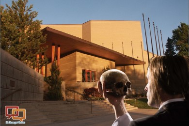"""Background image: Randall L. Jones Theater; foreground image: Danforth Comins as Hamlet in the Utah Shakespeare Festival's 2012 production of """"Hamlet,"""" Cedar City, Utah, dates not specified 