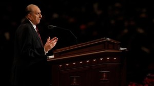 Church of Jesus Christ of Latter-day Saints President Thomas S. Monson speaks at the Sunday morning session of general conference in the Conference Center in Salt Lake City, Utah, October 4, 2015. | Courtesy of Intellectual Reserve, Inc., St. George News