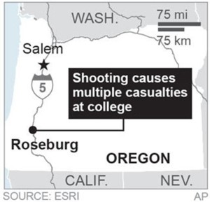 Map locates Roseburg, Oregon, where a shooting took place; 1c x 2 inches; with BC-US--Oregon School Shooting; ETA 4 p.m. ; 1c x 2 inches; 46.5 mm x 50 mm | Map courtesy of the Associated Press, St. George News