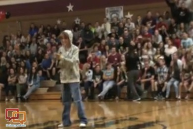 Screenshot from a video of Mrs. Huebner, a teacher at Pine View Middle School, rapping exponents, St. George, Utah, date not specified | Screenshot submitted by Nathan Lavoie, St. George News