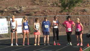Participants in the 1,500 meter run prepare to start their event at the 2015 Huntsman Senior Games, St. George, Utah, Oct. 7, 2015 | Photo by Devan Chavez, St. George News