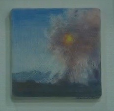 One watercolor on tile in Jennifer Gubler's Utah forest fire series. Gubler's work is featured during the month of October at the Difiore Center for the Arts, St. George, Utah, Oct. 3, 2015 | Photo by Sheldon Demke, St. George News