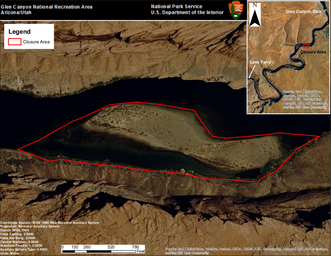 Map of Backwater Slough | Image courtesy of the Grand Canyon National Park, St. George News | Click image to enlarge