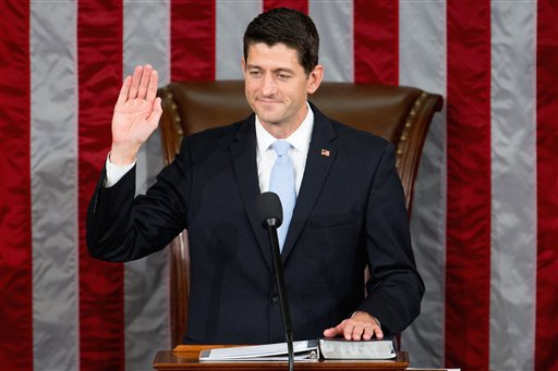 Newly elected House Speaker Paul Ryan, of Wis., takes the oath of office in the House Chamber on Capitol Hill in Washington, Thursday, Oct. 29, 2015 | AP Photo by Andrew Harnik, St. George News