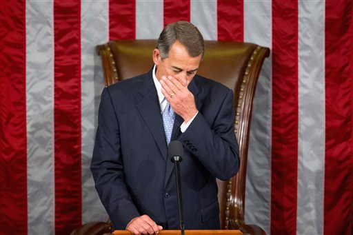 Outgoing House Speaker John Boehner of Ohio waits for Rep. Paul Ryan, R-Wis. to arrive into the House Chamber on Capitol Hill in Washington, Thursday, Oct. 29, 2015 | AP Photo by Andrew Harnik, St. George News