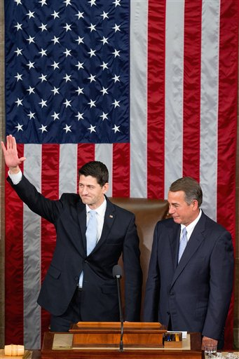 An emotional outgoing House Speaker John Boehner stands with his successor Rep. Paul Ryan, R-Wis., in the House Chamber on Capitol Hill in Washington, Thursday, Oct. 29, 2015 | AP Photo by Andrew Harnik, St. George News