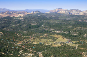 An aerial view of Zion Ponderosa Ranch Resort, Mt. Carmel, Utah, date not specified | Image courtesy of Zion Ponderosa Ranch Resort, St. George News