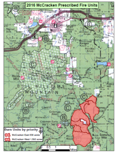 Map of McCracken prescribed burns planned for October 2015 | Image courtesy of Kaibab National Forest, St. George News