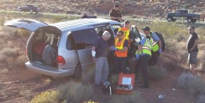 Van crashes at Interstate 15 Exit 16, Washington, Utah, Oct. 1, 2015 | Photo courtesy of Cathy Williams, St. George News