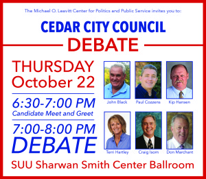 Cedar City Council Candidates will debate local issues Thursday in the Southern Utah University Ballroom, Cedar City, Utah | Photo courtesy of the Michael O. Leavitt Center for Politics and Public Service, St. George News