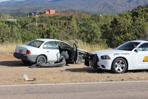 A two-car accident in Central resulted in three people being sent to the hospital, Central, Utah, Oct. 1, 2015 | Photo by Ric Wayman, St. George News