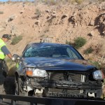 Driver fatigue leads to a rollover on southbound Interstate 15, in Mohave County, Arizona, Oct. 6, 2015 | Photo by Cody Blowers, St. George News