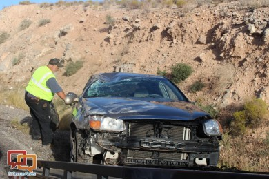 Driver fatigue leads to a rollover on southbound Interstate 15, in Mohave County, Arizona, Oct. 6, 2015   Photo by Cody Blowers, St. George News
