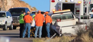 A head-on collision on SR-18 Thursday morning killed one man. St. George, Utah, October 15, 2015 | Photo by Ric Wayman, St. George News