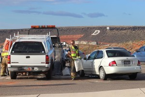 A head-on collision at Red Hills Parkway and Skyline Drive injured one man Tuesday morning, St. George, Utah, Oct. 20, 2015 | Photo by Ric Wayman, St. George News