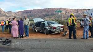 Vehicle accident near Hildale, Utah, Oct. 17, 2015 | Photo courtesy of Virginia B. Johnson, St. George News