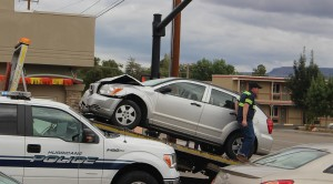 A 2-car crash in Hurricane Tuesday morning damaged one car, but caused no injuries, Hurricane, Utah, Oct. 20, 2015   Photo by Ric Wayman, St. George News