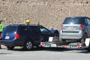 An accident on I-15 Saturday resulted in two California residents taken to the hospital, St. George, Utah, Oct. 24, 2015 | Photo by Ric Wayman, St. George News