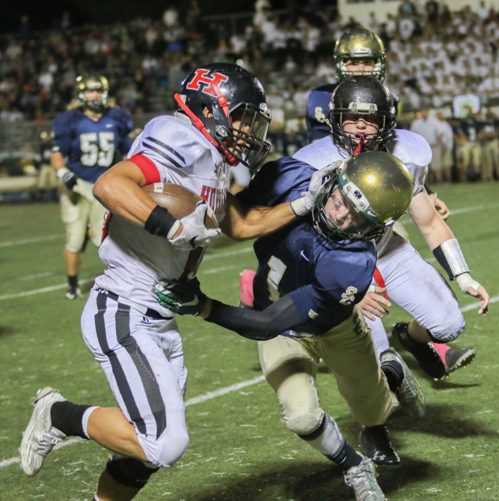 Nick McDaniel fights for yardage, Snow Canyon vs. Hurricane, Football, St George, Utah, Oct. 23, 2015, | Photo by Kevin Luthy, St. George News