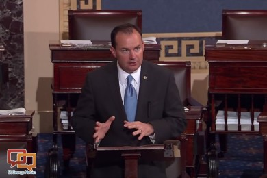 Sen. Mike Lee delivers a speech on the Senate floor, Washington, D.C., October 2015 | Image courtesy of offices of Sen. Mike Lee's, St. George News