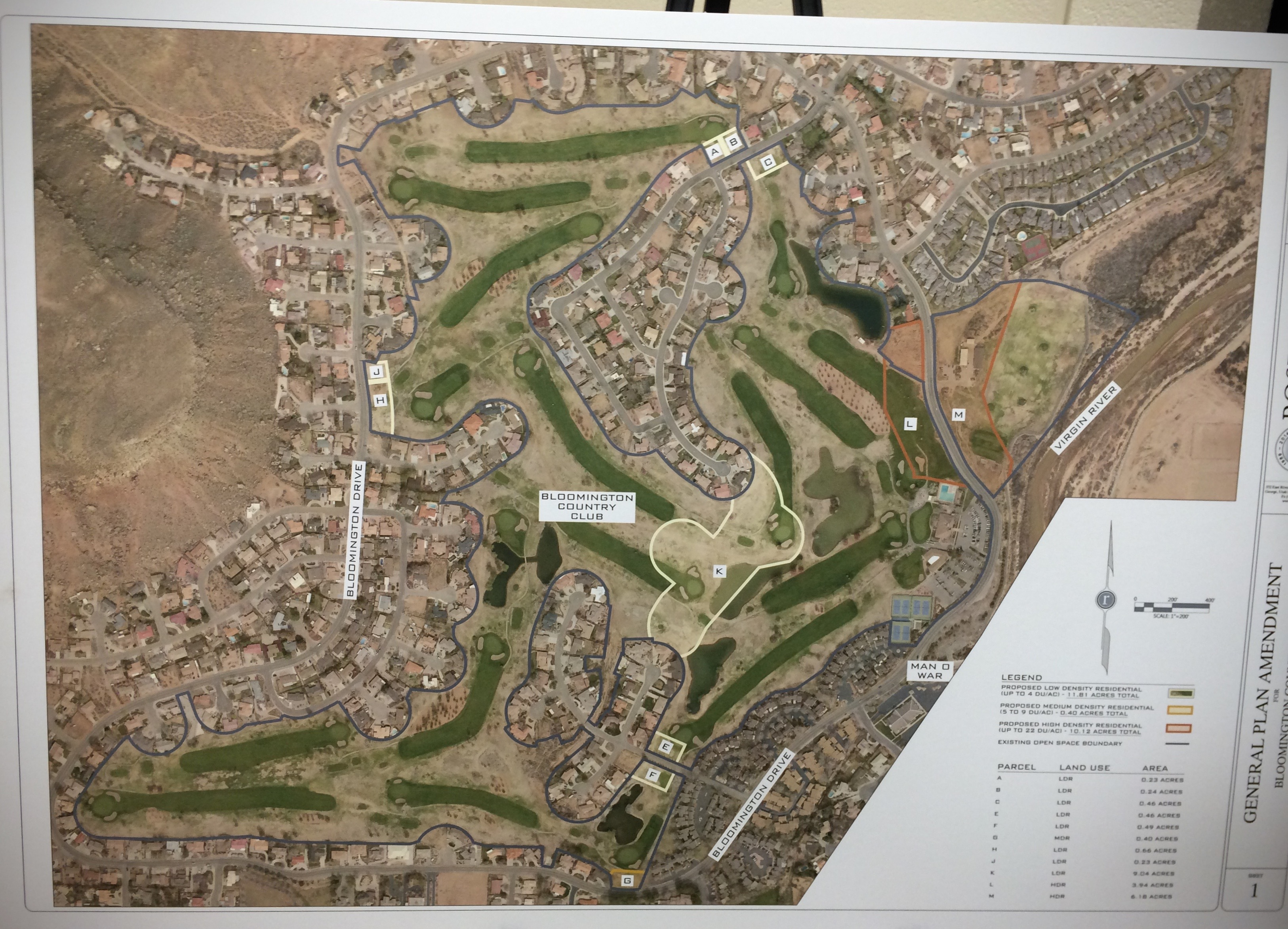 Diagrams of proposed general plan amendments to allow additional residential housing appurtenant to Bloomington Country Club, presented by Developer Darcy Stewart at a community meeting at Bloomington Elementary School in St. George, Utah, Oct. 1, 2015 | Photo by JJ Deforest, St. George News