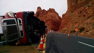 Semitruck carrying 44,500 pounds of pizza dough and flour crashes on U.S. 89 near Page, Arizona, Oct. 29, 2015 | Photo courtesy of Arizona Department of Public Safety, St. George News