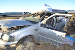 A Cedar City woman is in serious condition after rolling her SUV on Interstate 15 and nearly hitting a UHP trooper, Parowan, Utah, Oct. 11, 2015 | Photo by Emily Hammer, St. George News