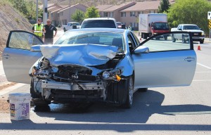 An accident on River Road Friday caused one woman to go to the hospital, St. George, Utah, Oct. 30, 2015 | Photo by Ric Wayman, St. George News