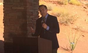 Speaker of the Utah House Gregory Hughes speaking at the dedication for the Red Hills Desert Garden, St. George, Utah , Oct. 7, 2015 | Photo by Mori Kessler, St. George News