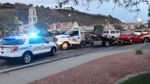 A three-car accident resulted one man going to the hospital after the triple-collision was trigger by another driver allegedly not seeing another car in her blind spot, St. George, Utah, Oct 15, 2015   Photo by Mori Kessler, St. George News