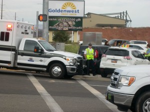 A three-car accident on Riverside Drive and River Road damaged the involved vehicles but caused no injuries, St. George, Utah, Oct. 28, 2015 | Photo by Ric Wayman, St. George News