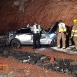A high-speed rollover on Red Hills Parkway demolished a sports car and a man was taken to the hospital as a result. St. George, Utah, Oct. 4, 2015 | Photo by Ric Wayman, St. George News