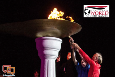 This file photo from the 2012 Huntsman World Senior Games shows the lighting of the torch during opening ceremonies in St. George, Utah, circa October 2012 | St. George News