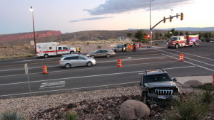 Aftermath of a collision triggered by a U-turn attempt at the intersection of Telegraph Street and Highland Parkway, Washington City, Utah, Oct. 3, 2015 | Photo by Mori Kessler, St. George News